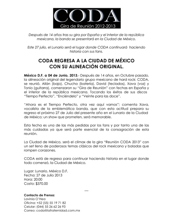 Comunicado de prensa CODA 1