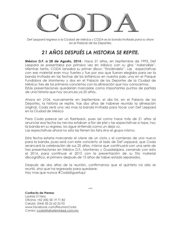 Comunicado Prensa Coda Def Leppard