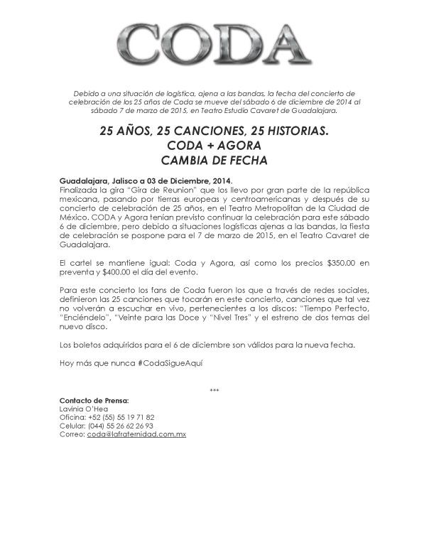 Comunicado Teatro Cavaret nueva fecha 7 marzo